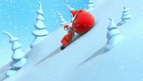Het beeldverhaal Santa Claus heft helling op en sleept grote rode zak met giften