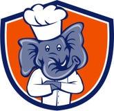 Het Beeldverhaal van Arms Crossed Crest van de olifantschef-kok Stock Foto