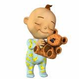 Het Beeldverhaal van de baby met een Teddybeer Royalty-vrije Stock Foto