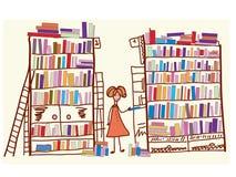 Het beeldverhaal van de bibliotheek met kind Stock Foto's