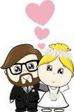 Het beeldverhaal van de bruid en van de bruidegom royalty-vrije illustratie