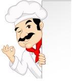 Het beeldverhaal van de chef-kok met leeg teken Stock Foto