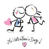 Het beeldverhaal van de Dag van de valentijnskaart Royalty-vrije Stock Foto