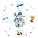 Het beeldverhaal van de golfspeler stock illustratie