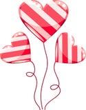 Het beeldverhaal van de hartenballons van valentijnskaarten Stock Afbeeldingen