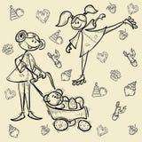 Het beeldverhaal van de het meisjesheld van het jong geitjekarakter Stock Afbeeldingen