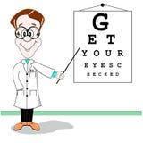 Het beeldverhaal van de het oogtest van de opticien Stock Afbeeldingen