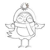 Het beeldverhaal van de Kerstmisvogel van het lijnpictogram stock illustratie