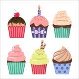 Het beeldverhaal van de klemkunst cupcake plaatste Kleurrijke cupcakes clipart beeldverhalen royalty-vrije illustratie