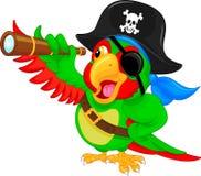 Het beeldverhaal van de piraatpapegaai Stock Foto
