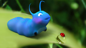 Het beeldverhaal van de rupsband en van het lieveheersbeestje in een gelukkige encount Stock Afbeelding