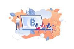 Het Beeldverhaal van de de Schaalanalyse van de Cryptocurrencymijnbouw vector illustratie