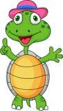 Het beeldverhaal van de schildpad met omhoog duim Stock Foto's