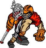 Het Beeldverhaal van de Speler van de lacrosse stock illustratie
