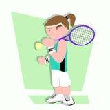 Het beeldverhaal van de tennisspeler Royalty-vrije Stock Foto's
