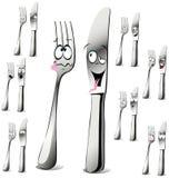 Het beeldverhaal van de vork en van het mes Royalty-vrije Stock Afbeeldingen