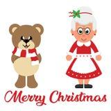 Het beeldverhaal van de winterkerstmis draagt met sjaal en beeldverhaalmevr.santa met Kerstmistekst royalty-vrije illustratie