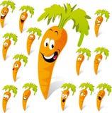 Het beeldverhaal van de wortel met vele uitdrukkingen Stock Fotografie