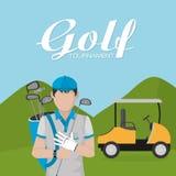 Het beeldverhaal van golftoernooien vector illustratie