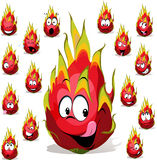 Het beeldverhaal van het draakfruit met vele gelaatsuitdrukkingen Stock Afbeeldingen