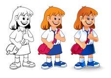 Het beeldverhaal van het schoolmeisje stock fotografie