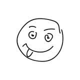 Het beeldverhaal van het smileygezicht van schetsemoticon vector illustratie