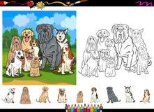 Het beeldverhaal van hondrassen het kleuren paginareeks Royalty-vrije Stock Foto's