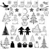 Het beeldverhaal van Kerstmis, plaatste zwarte silhouetten Royalty-vrije Stock Fotografie
