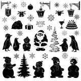 Het beeldverhaal van Kerstmis, plaatste zwarte silhouetten Stock Foto's