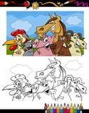 Het beeldverhaal van landbouwbedrijfdieren voor het kleuren van boek Stock Foto