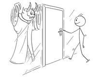 Het beeldverhaal van Mensenwho is Klaar om Deur te openen, maar Er zijn Kwaad of erachter Verborgen Demon vector illustratie