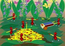 Het beeldverhaal van mierenbouwers Royalty-vrije Stock Foto