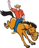 Het Beeldverhaal van Riding Bucking Bronco van de rodeocowboy stock illustratie