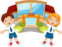 Het beeldverhaal van schoolkinderen vector illustratie