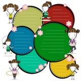 Het beeldverhaal van sportenmeisjes en de vectorillustratie van de kadertekst Stock Afbeeldingen