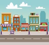 Het beeldverhaal van stadsgebouwen stock illustratie