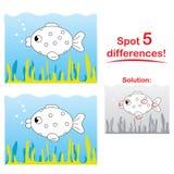 Het beeldverhaal van vissen: Vlek 5 verschillen! Stock Fotografie