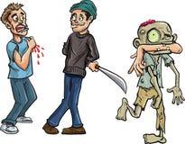 Het beeldverhaal van zombie die a bijten bemant weg wapen Royalty-vrije Stock Afbeeldingen
