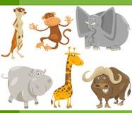 Het beeldverhaal vastgestelde illustratie van safaridieren Stock Afbeeldingen