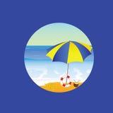 Het beeldverhaal vectorillustratie van het strandparadijs op een blauw Stock Foto's