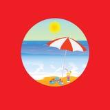 Het beeldverhaal vectorillustratie van het strandparadijs op een rood Royalty-vrije Stock Foto's