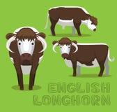 Het Beeldverhaal Vectorillustratie van koe Engelse Longhorn royalty-vrije illustratie
