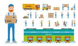 Het beeldverhaal vectorkarakters van pakhuisarbeiders De reeks divers stelt en emoties Stock Fotografie