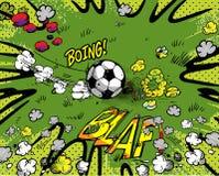 Het beeldverhaalachtergrond van het voetbal vector illustratie