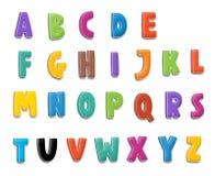 Het beeldverhaalalfabet - voor de kinderen Stock Foto