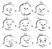 Het beeldverhaalgezicht van de baby Royalty-vrije Stock Afbeeldingen