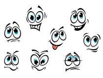 Het beeldverhaalgezichten van de strippagina Stock Afbeelding