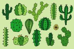 Het beeldverhaalhand getrokken illustraties van de cactus vectorkrabbel royalty-vrije stock fotografie