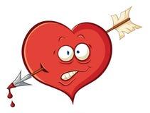 Het beeldverhaalhart van Ð ¡ Ute Gewond door een pijl van Cupido vector illustratie
