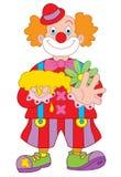 Het beeldverhaalillustratie van de clown Stock Foto